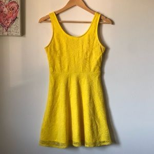 💜Forever 21 yellow lace overlay summer dress - size small